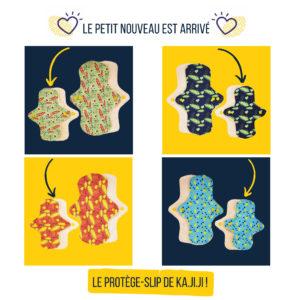 2 Protections périodiques et 2 protège-slips lavables Kajiji